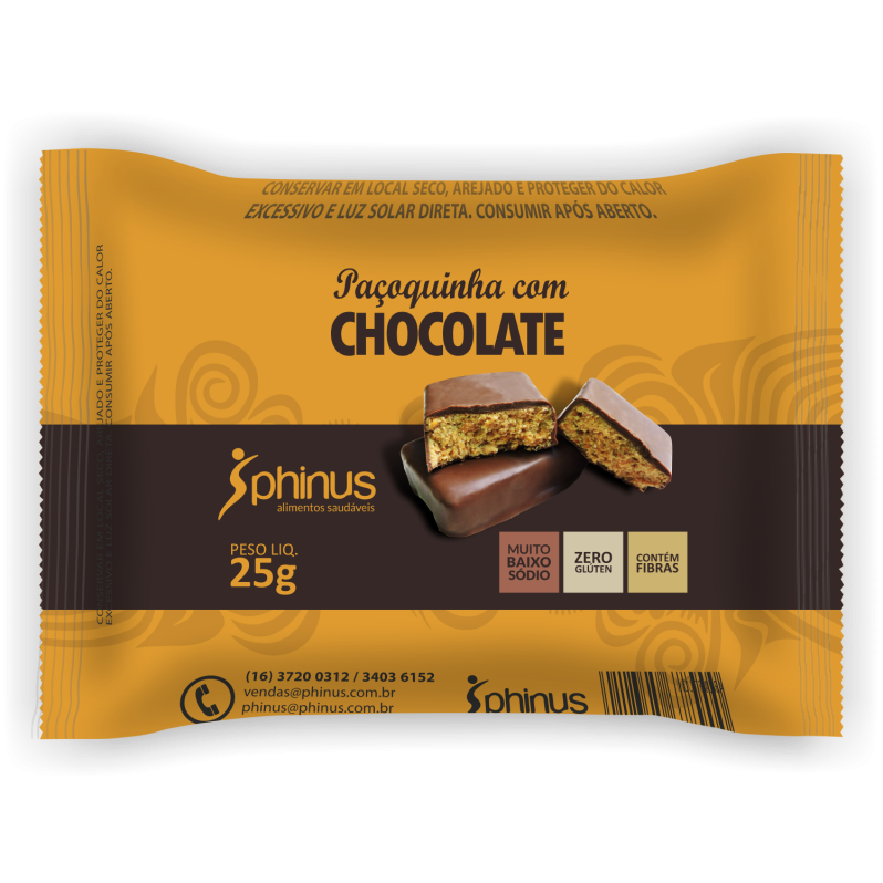 PHINUS PAÇOQUINHA + CHOCOLATE  ZERO 25G
